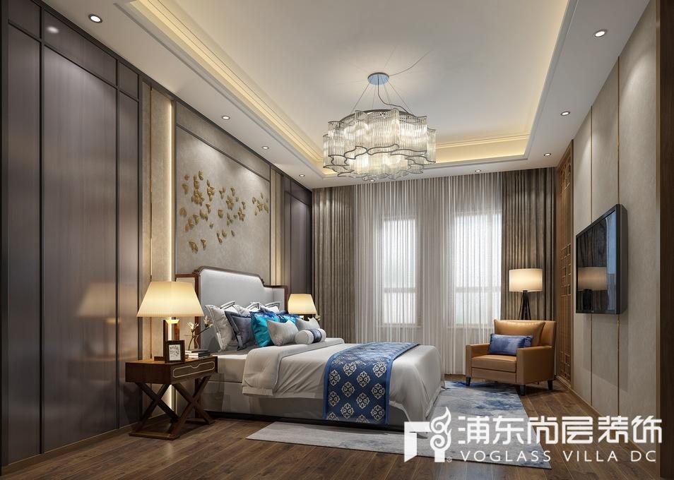 宝华源墅新中式风格别墅卧室装修效果图