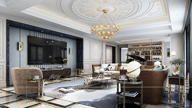 露香园法式风格客厅装修效果图