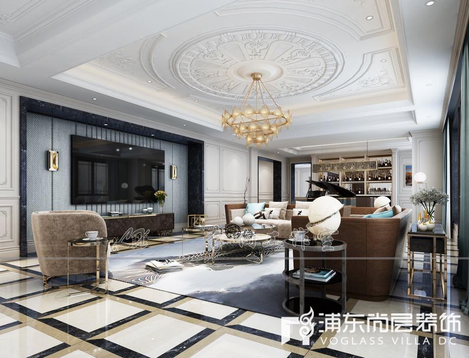 露香园法式风格客厅装修设计效果图
