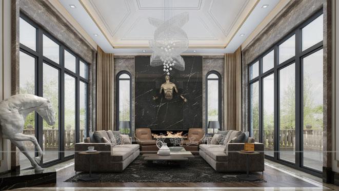 扬州别墅轻奢风格装修设计效果图