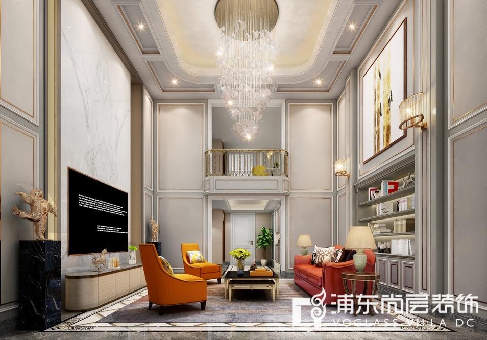 金大元御珑宫廷简美风格会客厅装修效果图