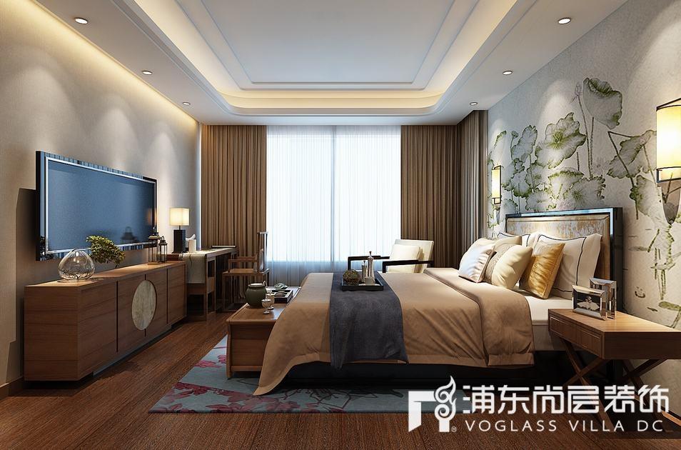 绿地海域观园新中式风格卧室装修效果图
