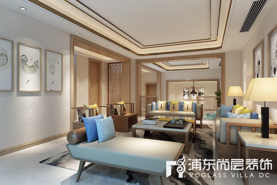 绿地海域观园新中式风格家庭室装修效果图
