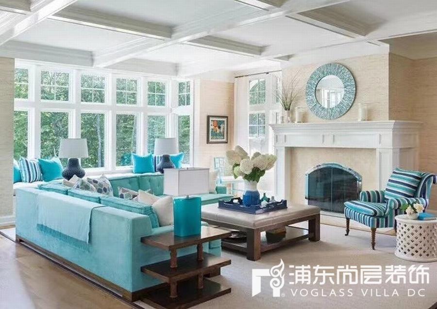 Tiffany蓝别墅客厅装修设计实景图