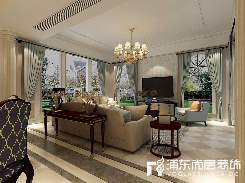 梵克雅堡别墅美式风格客厅装修效果图