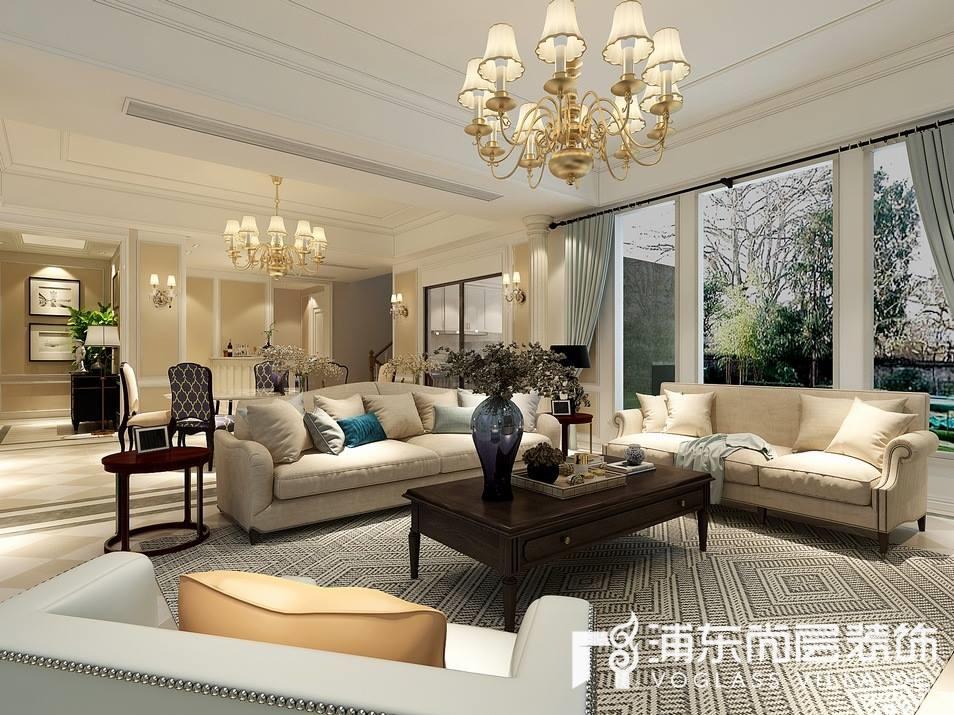 梵克雅堡别墅美式风格别墅客厅装修效果图