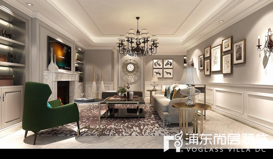 汤臣高尔夫别墅美式轻奢风格客厅装修效果图