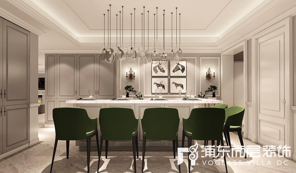 汤臣高尔夫别墅美式轻奢风格西餐厅装修效果图
