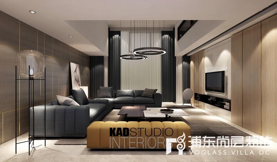 一品漫城别墅现代轻奢风格客厅装修效果图