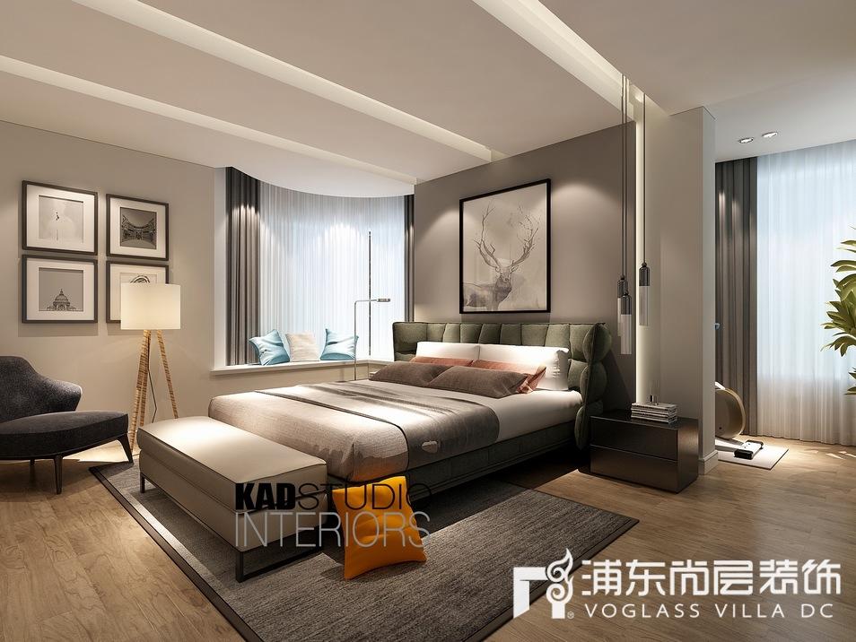 一品漫城现代轻奢风格别墅卧室装修效果图
