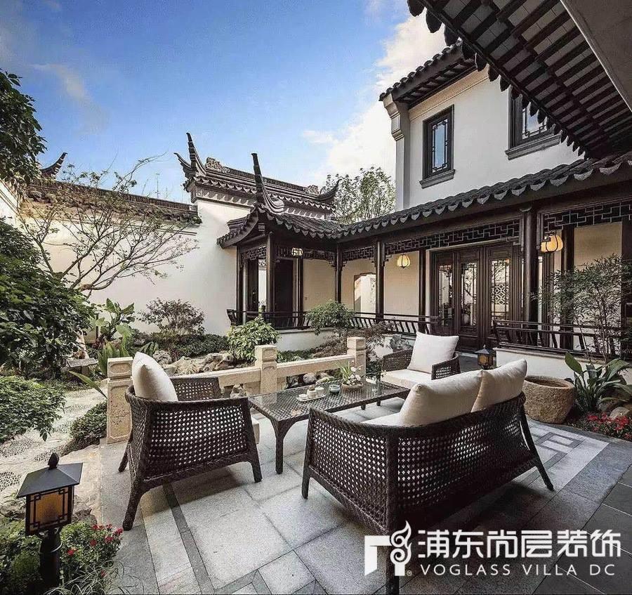 高档别墅庭院装修设计效果图,中式西式大pk