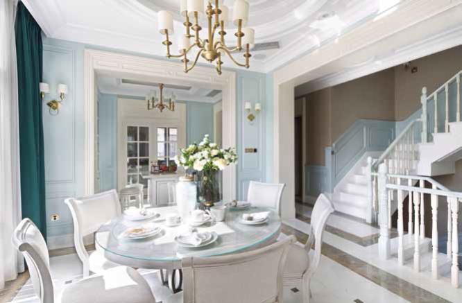 别墅美式风格餐厅装修实景图