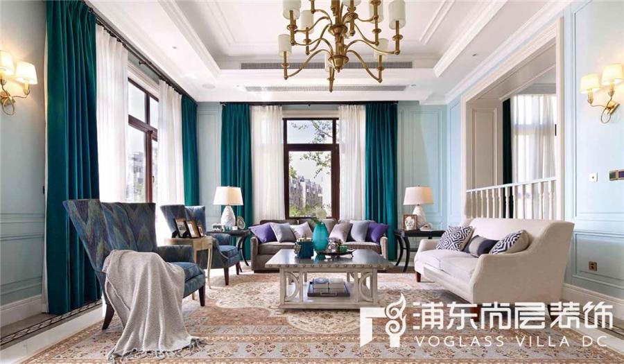 450㎡别墅美式风格客厅装修效果图