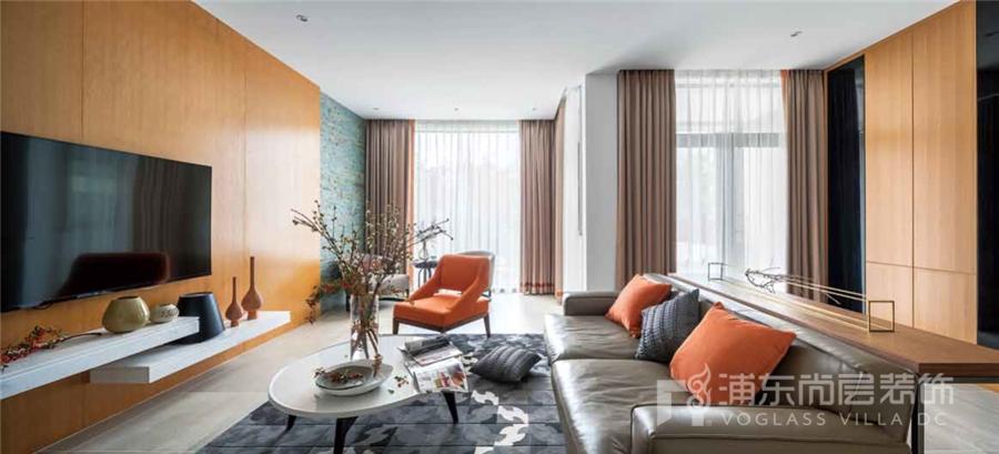 别墅现代风格客厅装修设计实景图