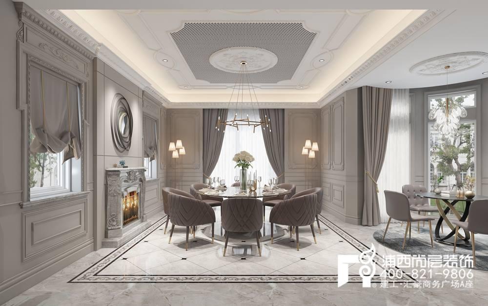 仍旧是高级灰的背景下,四角吊顶、壁灯散发着柔和的光线,吊灯是精巧的多边形造型,好像花中满天星,为空间注入了温馨迷人的特点。 餐厅的整体造型以宽阔严整为基础,在细节处加入了法式特有的细腻雕琢、雕梁画栋。落地窗本是充满现代感的设计,却与轻法式糅合出淡雅出尘又开放大气之感。 上海别墅装修设计轻法式风格经典案例:楼梯