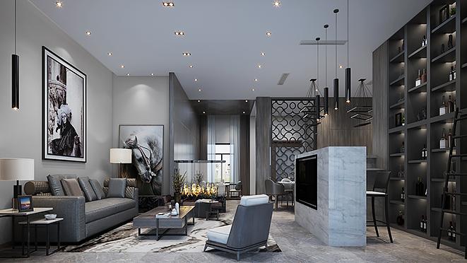 英庭名墅500平米极简风格别墅装修设计案例