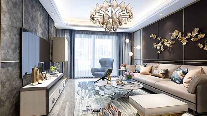 大宁金茂府147平米现代轻奢风格公寓装修设计案例