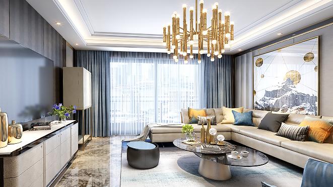 仁恒世纪230平米现代轻奢风格装修设计案例