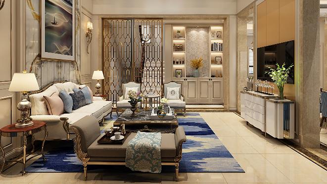 东方明珠500平米轻奢风格别墅装修设计案例