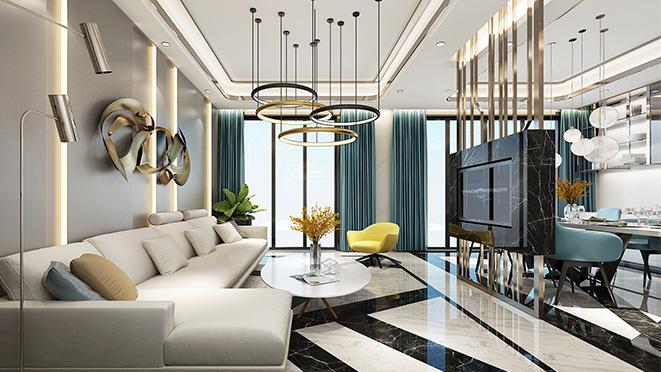 万科白鹭郡290平方米轻奢风格住宅装修设计案例