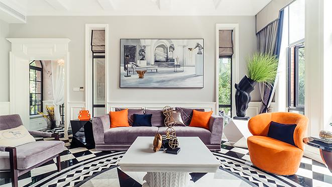 两河湾流域500平方现代美式风格别墅装修案例