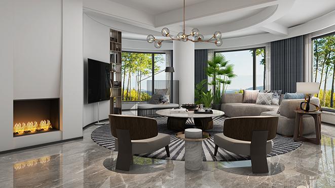 绿州千岛500平米现代风格别墅装修设计案例