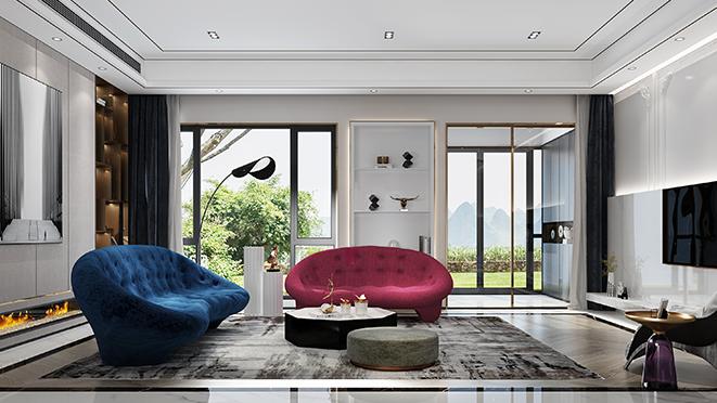铂悦滨江560平方米现代轻奢风格别墅装修设计案例