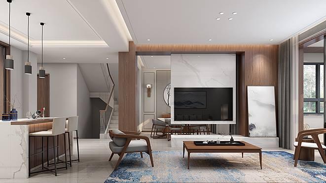 招商海德320平方米现代中式风格别墅装修设计案例