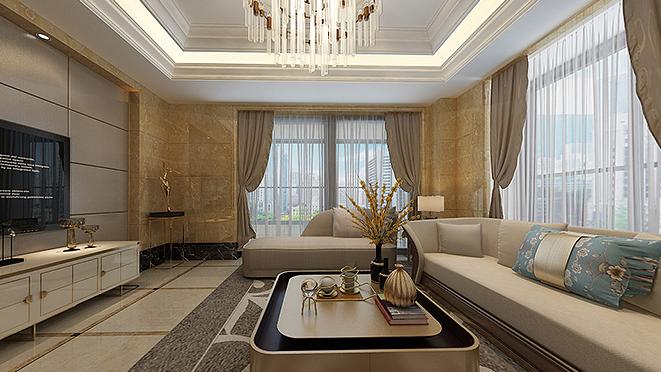 绿城黄浦湾268平米现代轻奢风格别墅软装设计案例